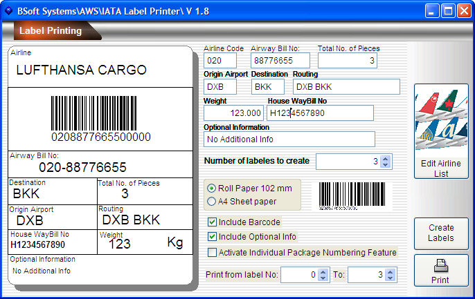 air shipment package label printing software