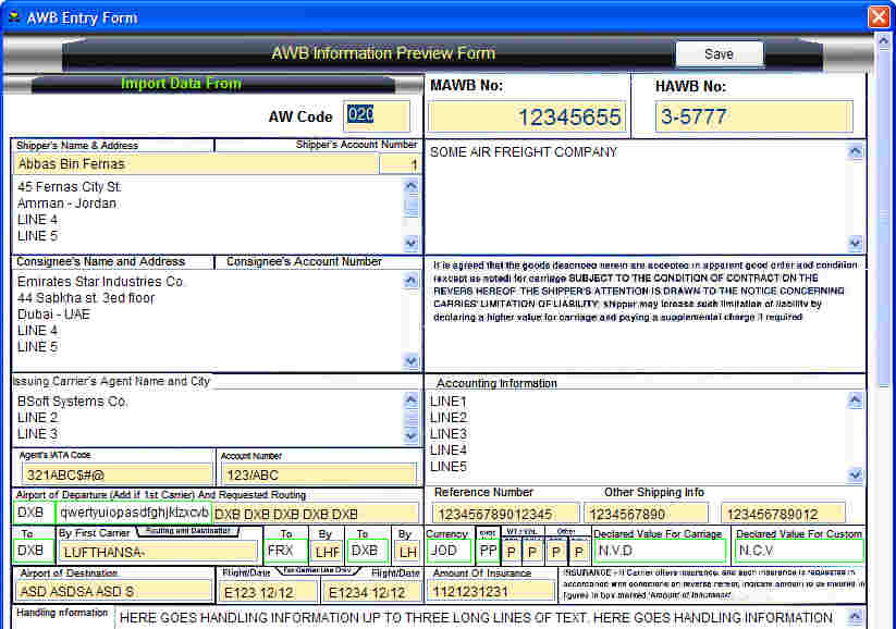 air waybill printing software
